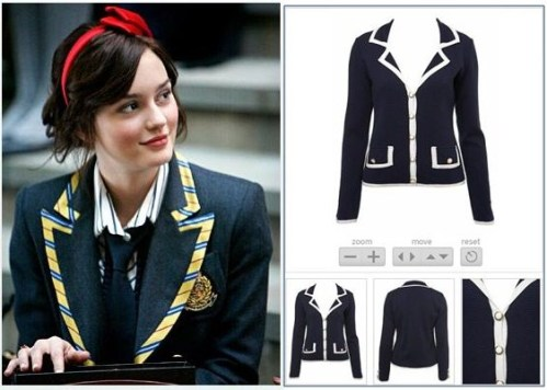 Leighton Meester as Blair Waldorf in a design from Abigail Lorick / Navy blazer with white trim from Miss Selfridge's latest range