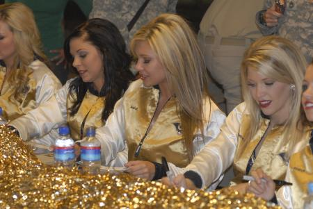 NFL cheerleaders Saintsations visit Kandahar Airfield in 2009