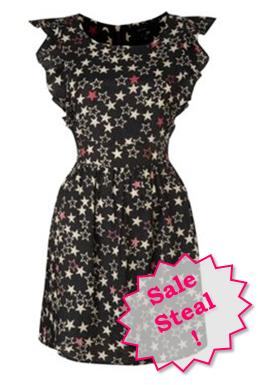 All over star print waterfall dress
