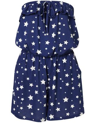 Star Print Bandeau Playsuit